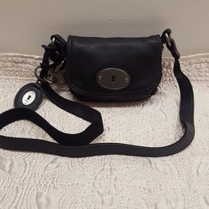 FOSSIL LEATHER MINI CROSSBODY BAG.